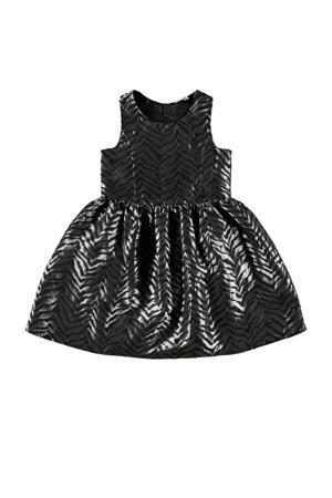 coated halter jurk met all over print zwart/zilver