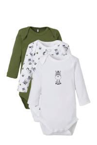 NAME IT BABY newborn baby longsleeve romper - set van 3 wit/olijfgroen, Donkergroen/wit