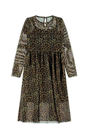 semi-transparante jurk met panterprint en mesh zwart