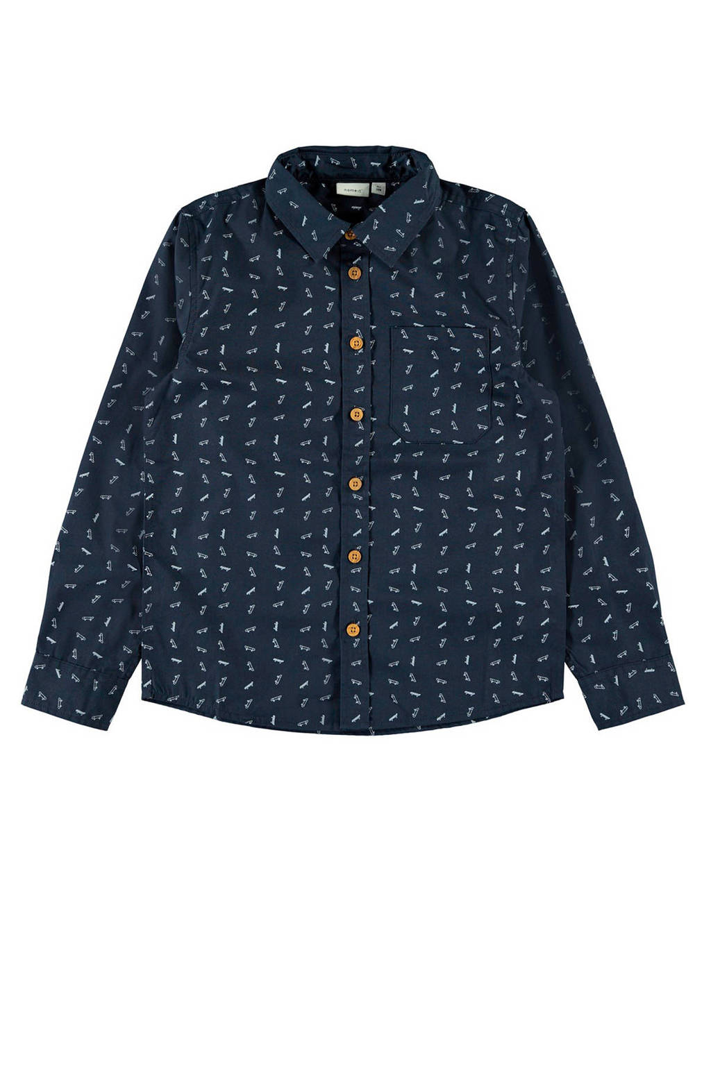 NAME IT KIDS overhemd met all over print donkerblauw/wit, Donkerblauw/wit