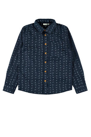 overhemd met all over print donkerblauw/wit