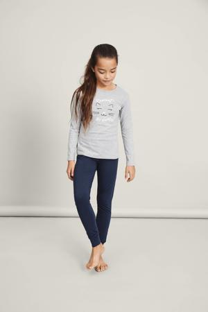 pyjamabroek en longsleeve grijs/donkerblauw