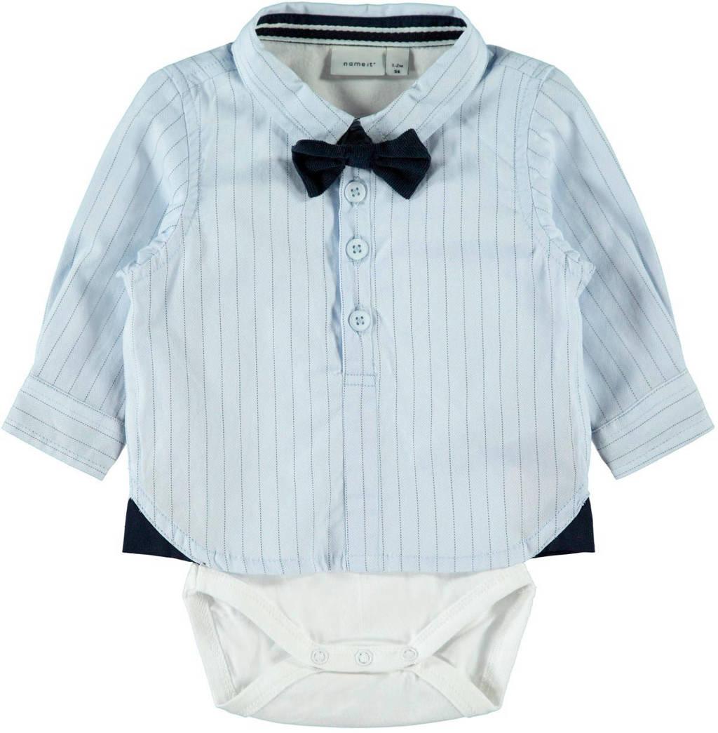 NAME IT BABY overhemdromper lichtblauw/wit/zwart, Lichtblauw/wit/zwart