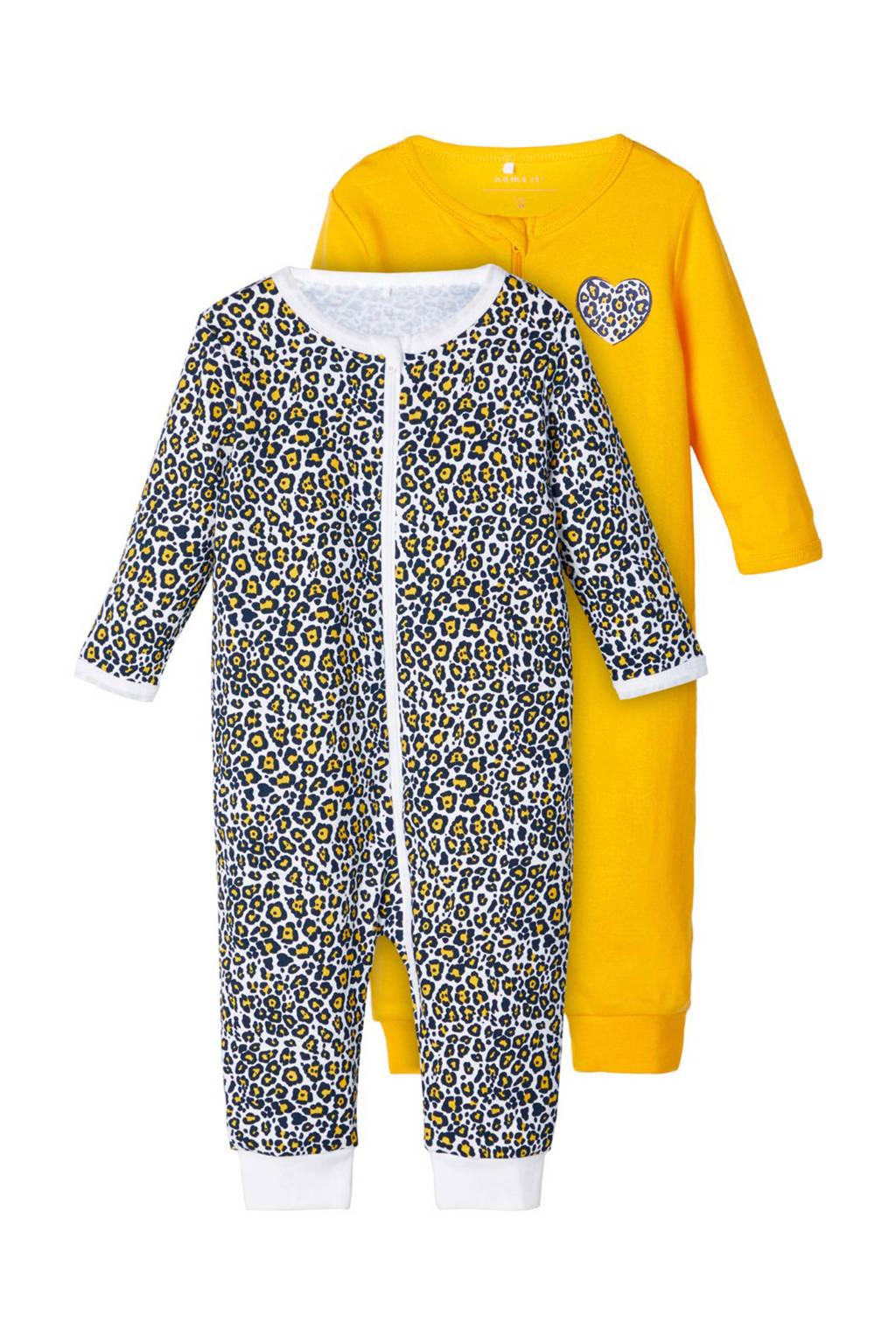 NAME IT BABY newborn pyjama's- set van 2, Geel/ zwart/ wit