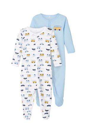 newborn baby boxpak- set van 2 blauw/wit