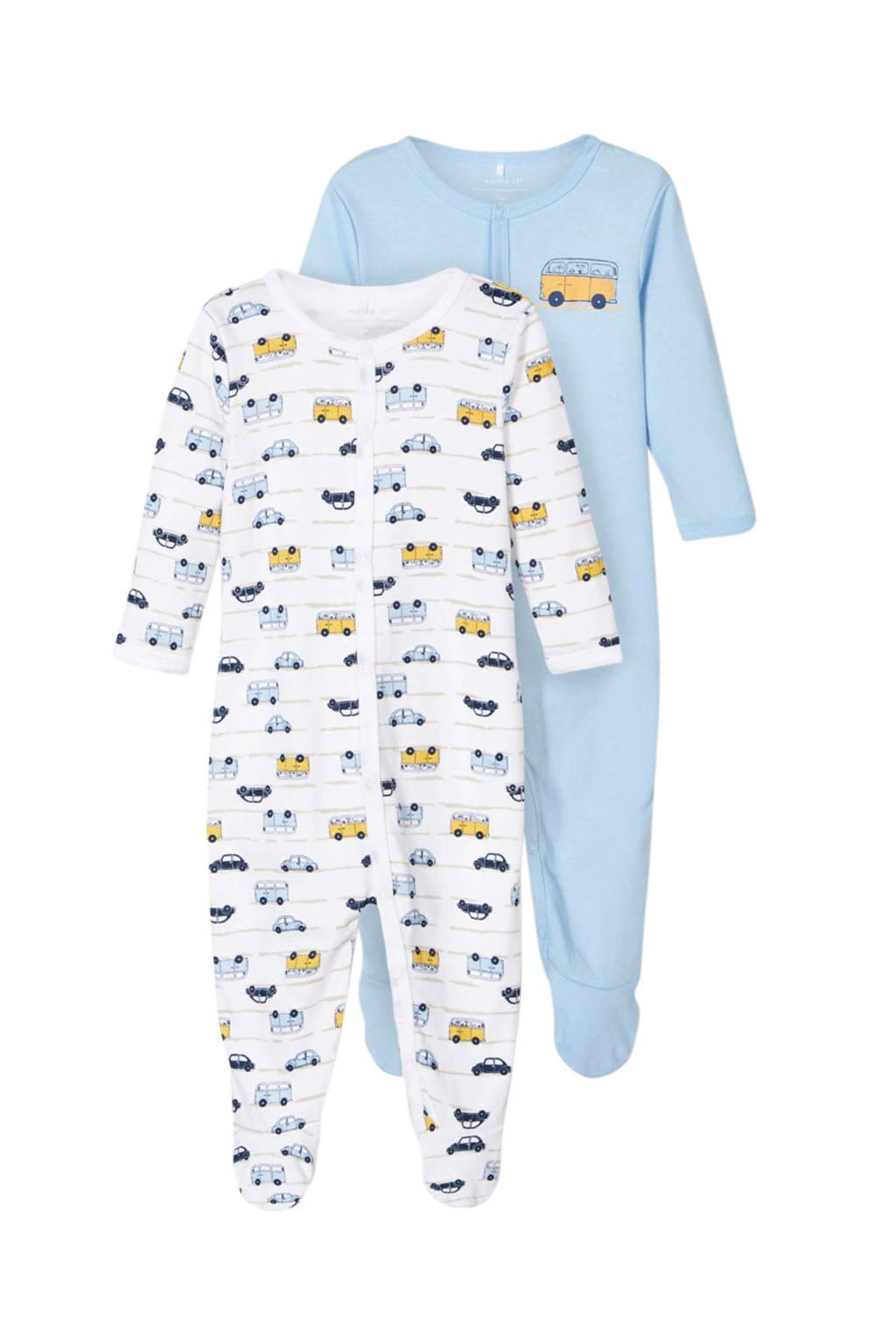 NAME IT BABY   newborn pyjama's- set van 2, blauw/ wit