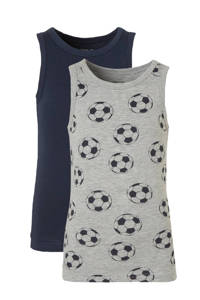 NAME IT MINI hemd - set van 2 donkerblauw/grijs melange, Grijs melange/ donkerblauw