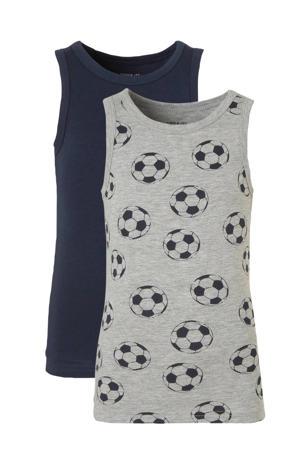 hemd - set van 2 donkerblauw/grijs melange