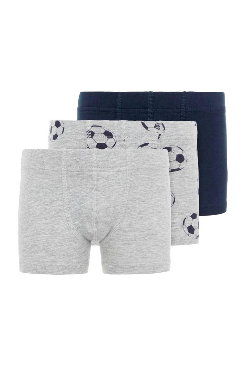 NAME IT MINI   boxershort - set van 3 donkerblauw/grijs melange, Grijs melange/ donkerblauw
