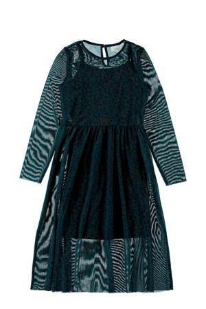 semi-transparante jurk met panterprint en mesh donkergroen