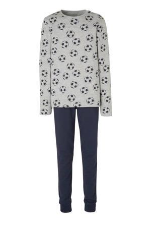 pyjama met all over print grijs/donkerblauw