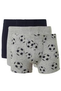 NAME IT KIDS   boxershorts - set van 3, Grijs melange/ donkerblauw