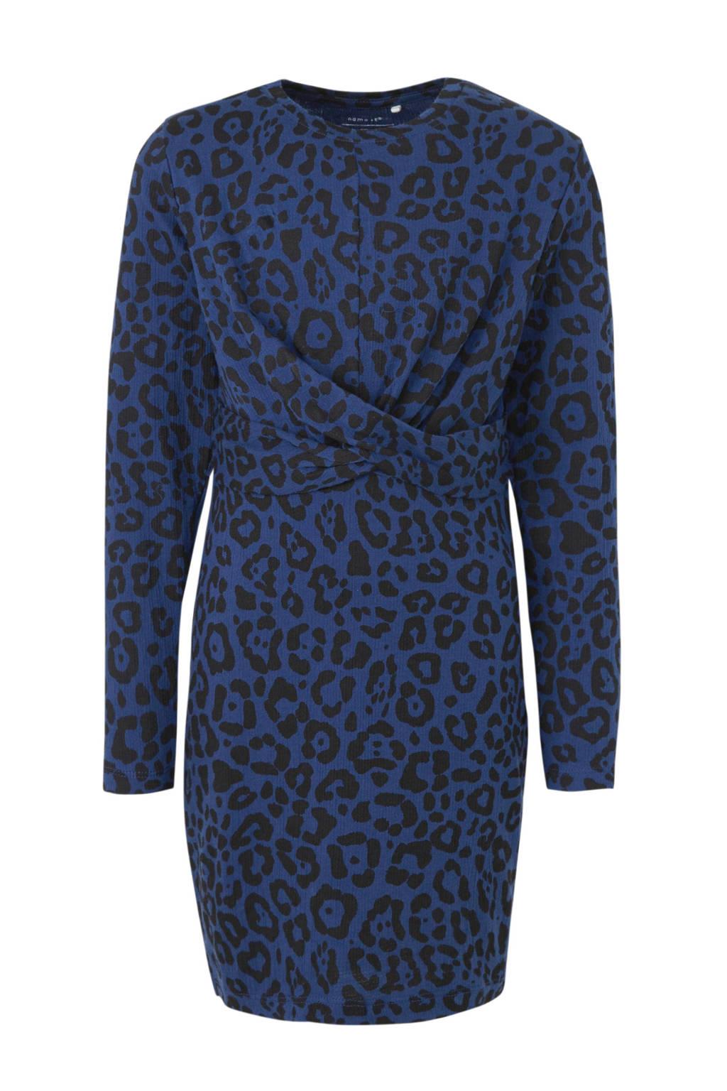 NAME IT KIDS jersey jurk met panterprint donkerblauw/zwart, Donkerblauw/zwart