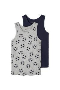 NAME IT KIDS hemd - set van 2, Grijs melange/ donkerblauw