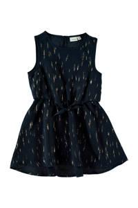 NAME IT MINI jurk met all over print donkerblauw/goud, Donkerblauw/goud