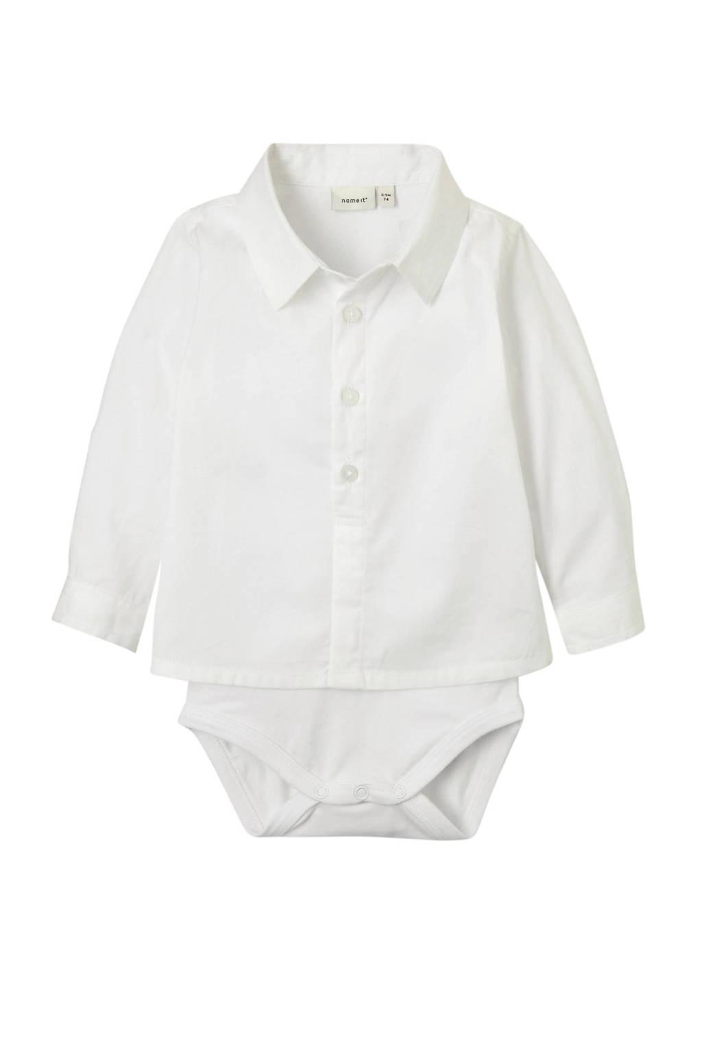 NAME IT BABY overhemd romper Sander, Wit