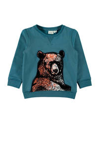 NAME IT MINI sweater met borduursels blauw/bruin/zwart, Blauw/bruin/zwart