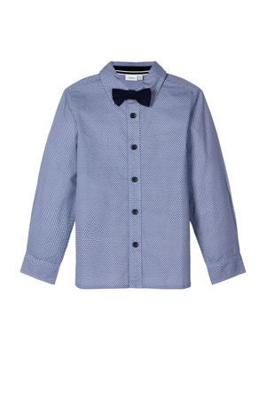 MINI overhemd met all over print en strik donkerblauw