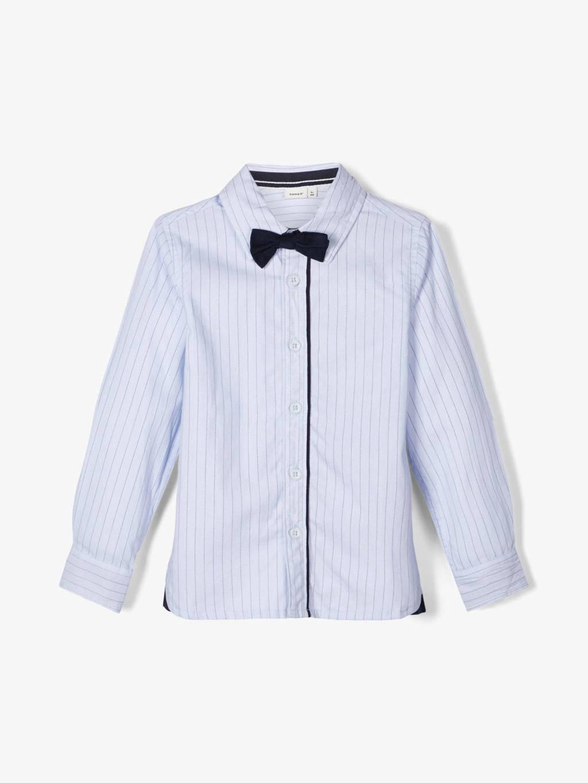 NAME IT MINI gestreept overhemd met strik lichtbauw, Lichtblauw