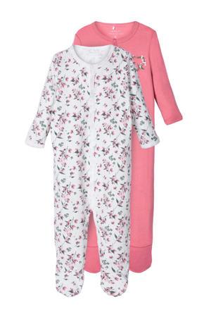 pyjama one piece wit/roze - set van 2