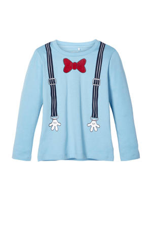 longsleeve Mickey Jacob met bretel en strikprint lichtblauw