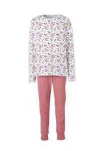 NAME IT KIDS pyjama met bloemdessin roze, roze/ wit