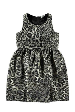 jurk met panterprint en plooien zwart/grijs/zilver
