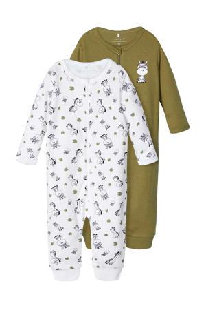 pyjama one piece donkergroen/wit - set van 2