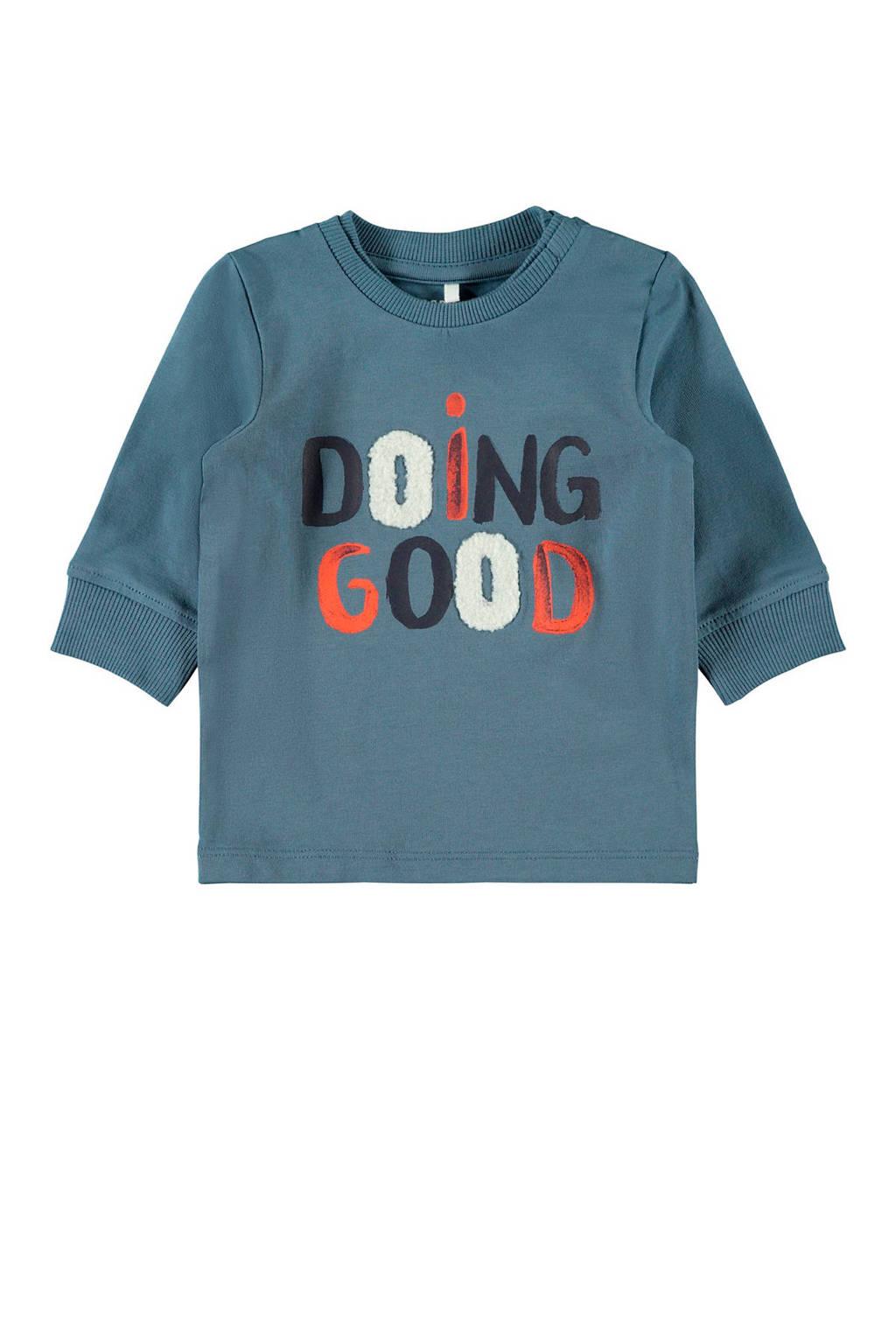 NAME IT BABY sweater met tekst blauw/oranje/zwart, Blauw/Oranje/Zwart