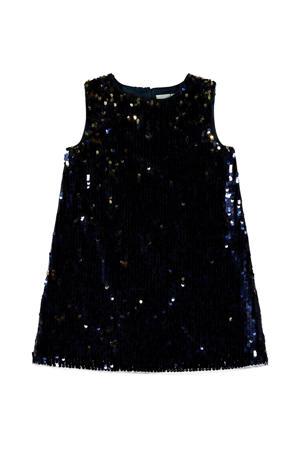 halter jersey jurk met pailletten donkerblauw