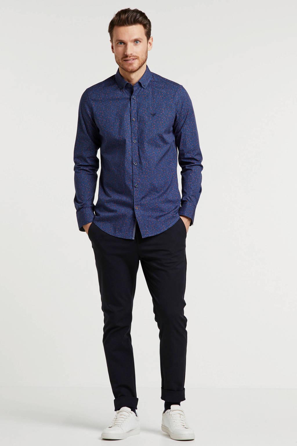 PME Legend slim fit overhemd met all over print blauw/rood/zwart, Blauw/rood/zwart