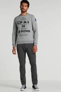 PME Legend sweater met printopdruk grijs, Grijs