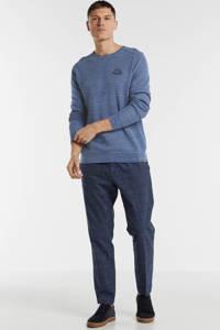 PME Legend gemêleerde fijngebreide trui blauw, Blauw