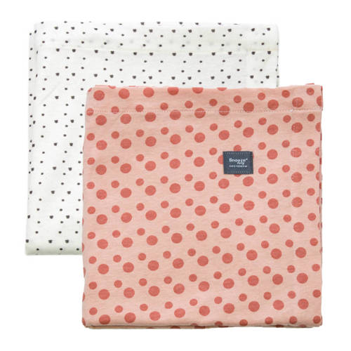 Snoozebaby wieglaken 80x80 cm (set van 2) dusty rose + bumble