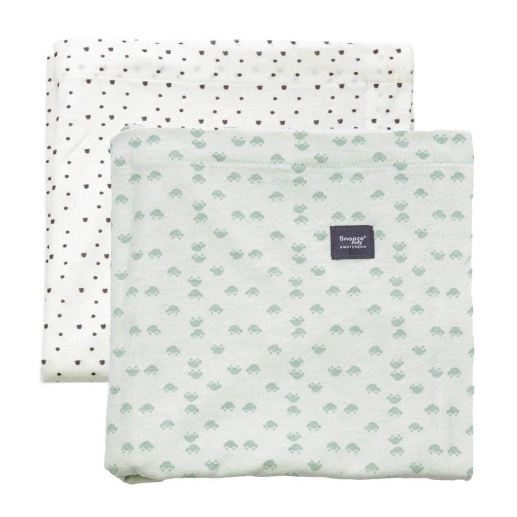 Snoozebaby ledikantlaken 120x120 cm (set van 2) gray mist + bumble, Gray Mist/Bumblebee