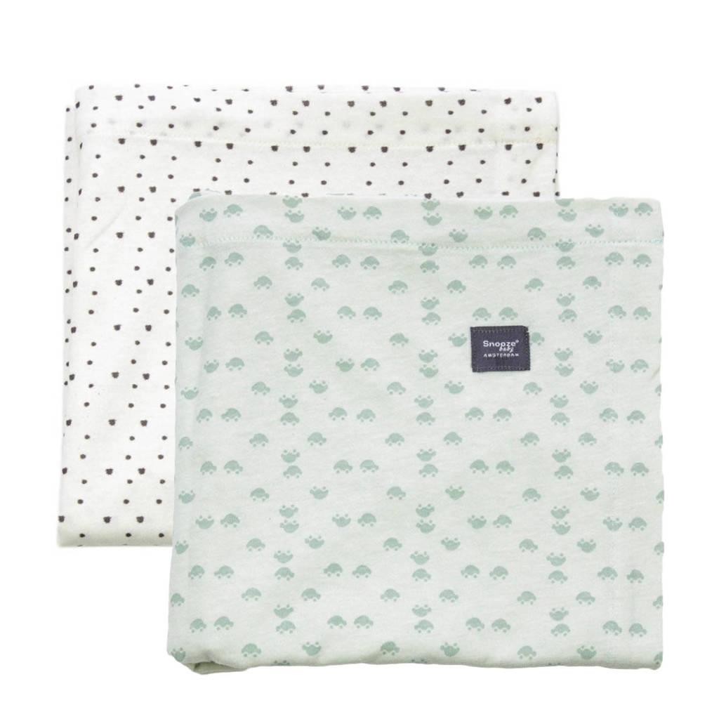 Snoozebaby swaddle - set van 2 80x80 cm gray mist + bumble, Gray Mist/Bumblebee