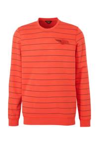 PME Legend gestreepte sweater koraalrood, Koraalrood