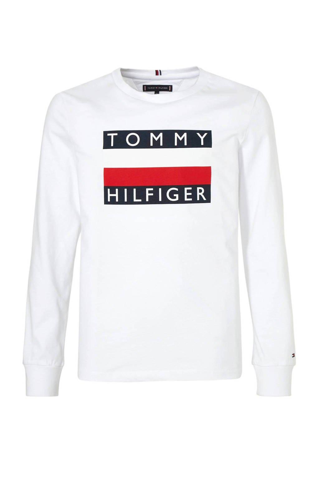 Tommy Hilfiger longsleeve met logo wit, Wit