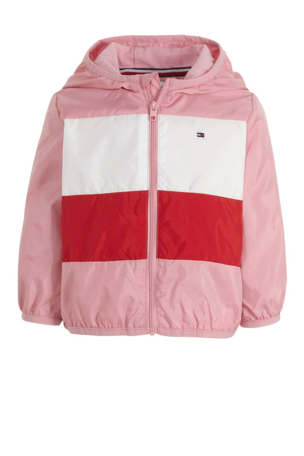 Tommy Hilfiger zomerjas met logo lichtroze/wit/rood, Lichtroze/wit/rood