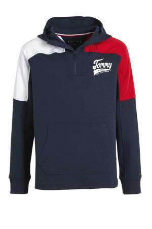 hoodie met logo donkerblauw/rood/wit