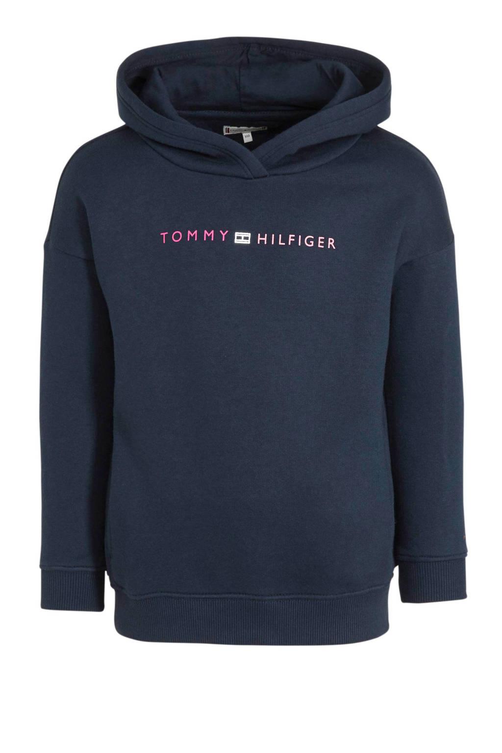 Tommy Hilfiger hoodie met tekst donkerblauw/roze/zilver, Donkerblauw/roze/zilver