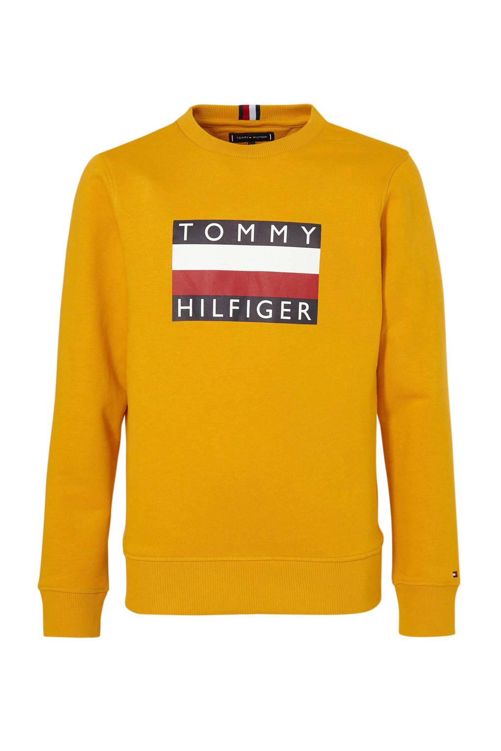 Tommy Hilfiger sweater met logo goudgeel, Goudgeel