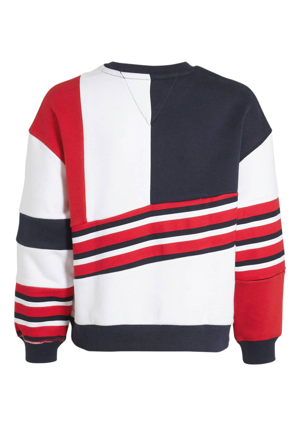 Tommy Hilfiger oversized sweater wit/rood/donkerblauw