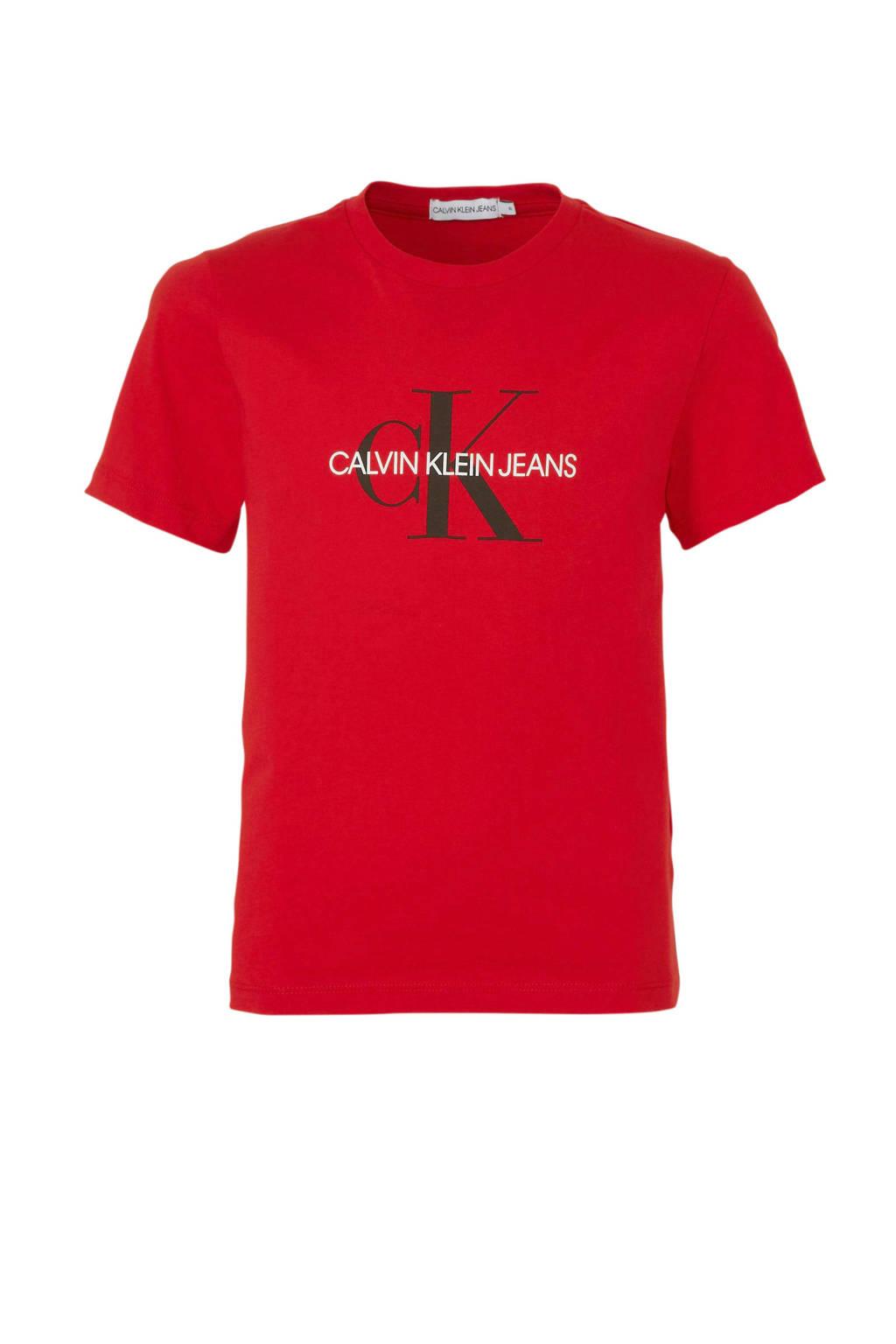 CALVIN KLEIN JEANS T-shirt met logo rood/wit/zwart, Rood/wit/zwart