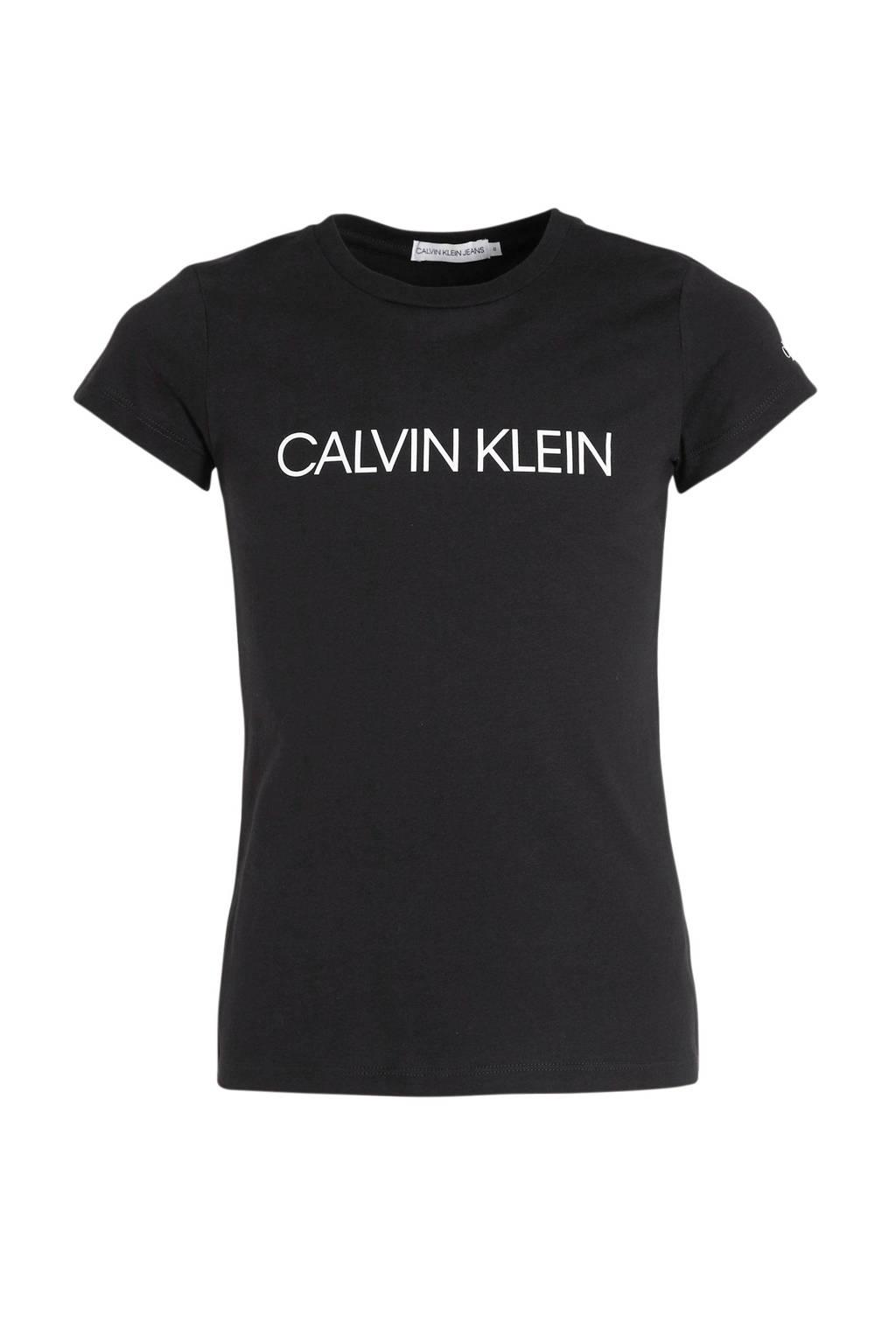 CALVIN KLEIN JEANS slim fit T-shirt met logo zwart, Zwart