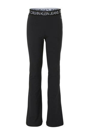 flared legging met logo zwart