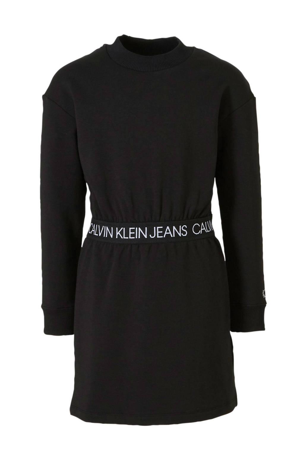 CALVIN KLEIN JEANS jersey jurk met tekst zwart, Zwart