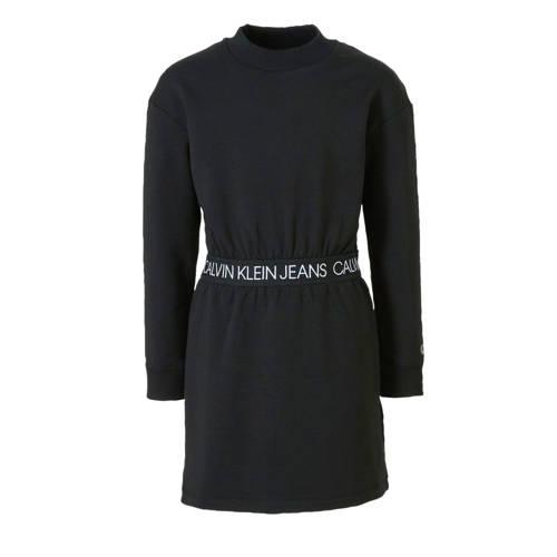 CALVIN KLEIN JEANS jersey jurk met tekst zwart