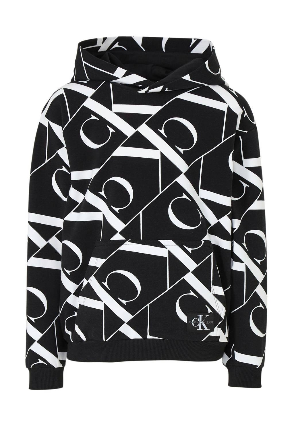 CALVIN KLEIN JEANS hoodie met all over print zwart, Zwart