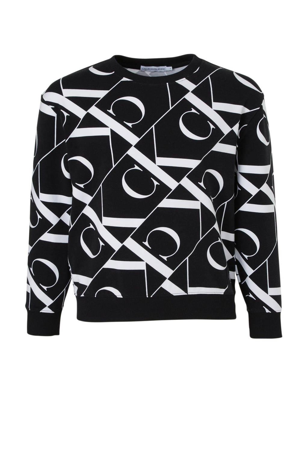 CALVIN KLEIN JEANS sweater met all over print zwart/wit, Zwart/wit